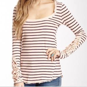 Free People striped with lace and button sleeves